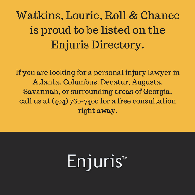If you are looking for a personal injury lawyer in Atlanta, call 404-760-7400 for a free consultation at the award-winning law firm of Watkins, Lourie, Roll & Chance today.